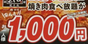 焼肉食べ放題1000円