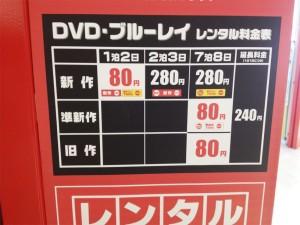 GEOつかしん店のレンタル料金